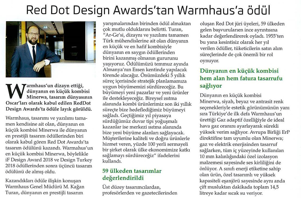 Red Dot Design Awards'tan Warmhaus'a Ödül